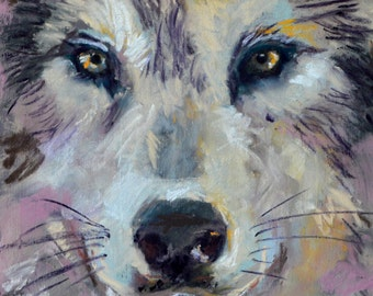 A Pastel Painting of a Wolf