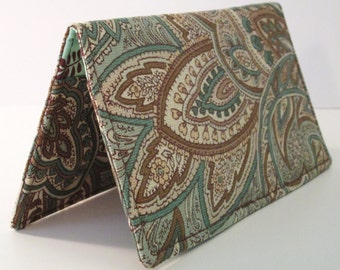 Checkbook Cover - Blue & Tan Paisley - Coupons - Wallet - Pocket - Gift - Holiday - Christmas