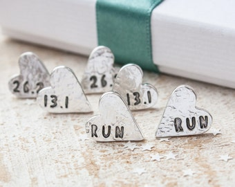 Love to Run Earrings, Personalised Textured Silver Heart Studs, gift for runner, marathon earrings, half marathon earrings, 26.2, 13.1, UK