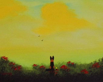 German Shepherd Dog Large original folk art painting by Todd Young Summer Sunset