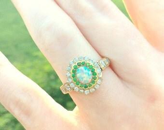 Stunning Antique Halo Ring, Old Cut Diamonds & Demantoid Garnets Surrounding Colorful Opal, Fine Quality, Solid Gold, Victorian - Art Nouvau