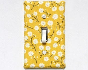 Fabric Light Switch Plate Cover - yellow with little cotton blossoms