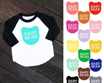 Size 2 Baby Bear Black Raglan Sleeve Baseball TShirt - Family Photos, infant, kids, toddler, Expecting, New Baby, Baby Shower, Announcement