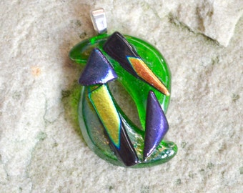 Fused Glass Pendant Bottle Green with Colour Changing Metallic Dichroic Layers on Your Choice of Silver or Gold Bail Fitting - Gift Boxed