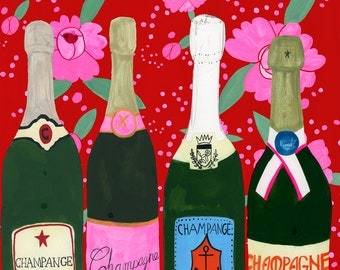 Champagne, New Years, Celebration,print of my original painting