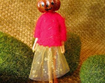 Miniature Pumpkin Head Doll