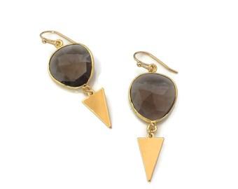 Smoky Quartz Gemstone Earrings // Dangle Birthstone Earrings