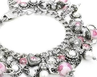 Fresh Water Pearl Bracelet, Tea Time Bracelet, Charm Bracelet, Crystals and Pearls, Pink Crystal Bracelet