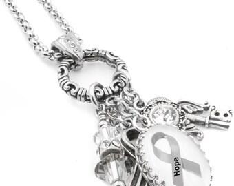 Brain Cancer Awareness, Charm Necklace, Brain Cancer Jewelry, Personalized Brain Cancer Jewelry, Gray Awareness Ribbon