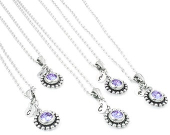 Bridesmaids Birthstones Gift, Wedding Necklaces, Personalized Bridesmaids Set, Initial Jewelry, Dainty Bridesmaids Jewelry