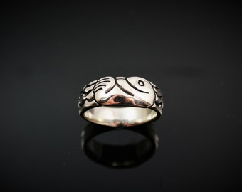 Sea Otter  Ring, re-purposed sterling silver, recycled silver ring, sterling silver