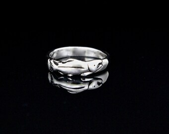 Salmon Profile Ring, eco friendly sterling silver ring,salmon band ring