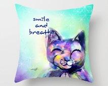 "Cat Pillow, Buddha Pillow, purple Pillow, Cat Painting, Watercolor, Zen Art, ""Smile and Breathe"" Original abstract Kathy Morton Stanion EBSQ"