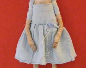 weird art doll dancer , sandy mastroni , creepy doll, bizarre,stitched linen, spooky odd