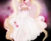 Princess Serenity - 5 x 7 Print - Sailor Moon moon princess illustration print love kawaii pretty nursery bun head gold dress