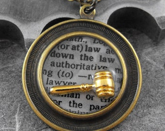 Law Definition Golden Brass Necklace - Defining the Life of a Lawyer by COGnitive Creations