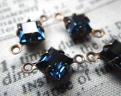 Montana Sapphire Vintage Swarovski Square 6x6mm Glass Brass Ox Connector Drops Two Loops 6 Pcs