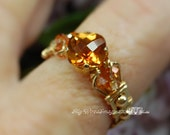 Anastasia Topaz Checkerboard Cut Hand Crafted Wire Wrapped Ring Orignal Signature Design Fine Jewelry