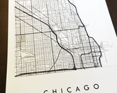Street Map of CHICAGO Drawing Black Grey Ink (Art Print) ILLINOIS