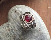 Garnet ring, gypsy ring, Silver engagement ring, wire wrap band, simple ring, hippie ring, bohemian ring, stone - Visions of you R2119