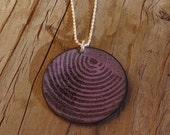 Handmade Large Copper Enamel Concentric Lines Disc Necklace, Large Copper Enamel Circle Curved Lines Pattern Necklace, Black on Purple