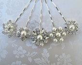 5 Wedding hair pins, Bridal Bobby Pins, Hair Clips, Bridal Hair Accessories , Pearl Hair pins, 5 Bridesmaids Gifts, Crystal and Silver