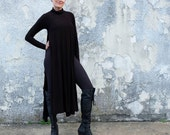 STRETCH Turtleneck Vented Wanderer Below Knee Dress (Med hemp/organic cotton STRETCH knit)