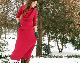 Women's ORGANIC Super Cowl Darjeeling Long Fleece Dress ( FLEECE Hemp/Organic Cotton Knit ) - organic winter dress