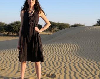 Organic Dress - Float Neck Racer Back Tank Wanderer Short Dress ( organic tissue cotton knit )