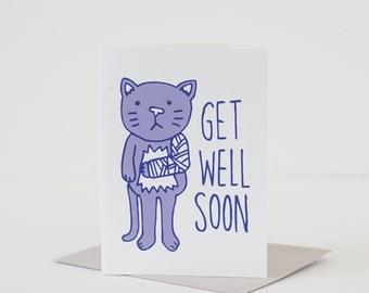 get well card sympathy card cat