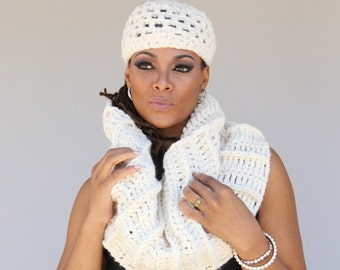 Oultander Inspired Cream Colored  Hat and Infinity Scarf - Bulky Cowl -Shoulderette - Capelet - Winter White