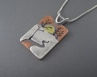 Handmade Sunset on the Chocolay River Mixed Metal Silver, Copper & Brass Pendant