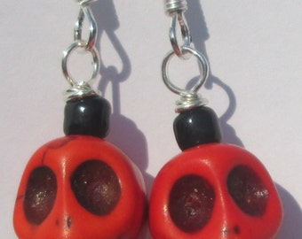 orange romantic goth skulls Day of the Dead Halloween pierced dangle hand made wire wrapped earrings Halloween sugar skulls