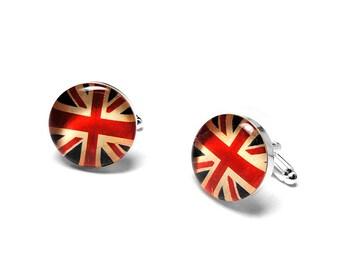 English Flag Cufflinks, Union Jack Cufflinks, England, UK, Grooms Gift, Handmade Cufflinks, Resin Cufflinks, Mens Accessories, Gift for Him