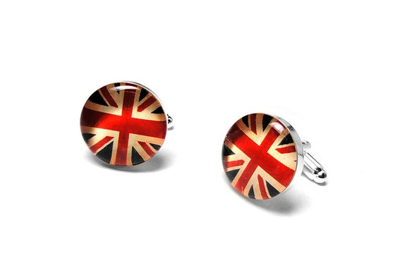 Union Jack Cufflinks, English Flag Cufflinks, England, UK, Grooms Gift, Handmade Cufflinks, Resin Cufflinks, Mens Accessories, Gift for Him