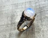 Rainbow Moonstone and Bronze Woodland Vine Ring