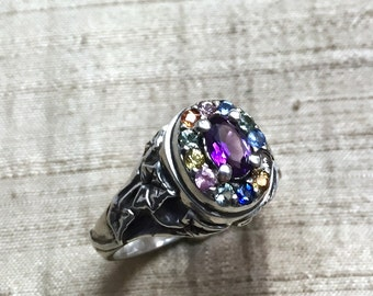 Amethyst and Sapphires in Sterling Silver- The Ivy Halo Ring