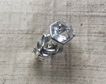 Hexagon White Topaz and Sterling Laurel Leaf Ring