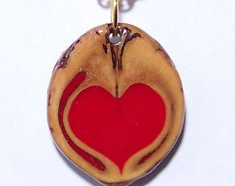 One of a Kind Walnut Pendant with a Red Heart in the Center and a Gold Chain Necklace with a choice of 2 sizes #3 Love in a Nutshell