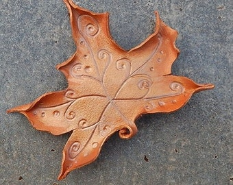 Faerie Leaf Barrette - Burnt Orange Maple with Swirling Spiral Veins