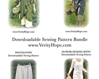 Four pdf dress patterns / downloadable dress sewing pattern bundel / Save 20%