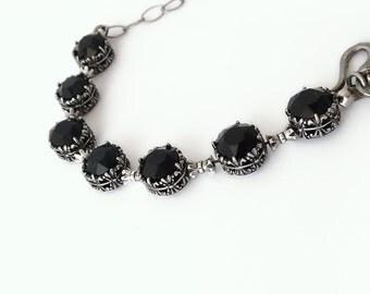Black Gothic Bracelet Swarovski Tennis Bracelet Gothic Jewelry Black Jewelry Oxidized Silver Filigree Round Swarovski Chatons