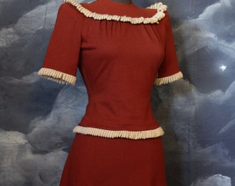 Vintage late 30s - early 1940s 2 Piece Rayon Suit Set - Size XS