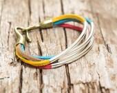 Colorful Suede Bracelet , Multi Color Bracelet with Silver Tubes, Bangle Bracelet, Wrap Bracelet