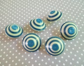 Six Vintage Blue and White Bullseye Buttons