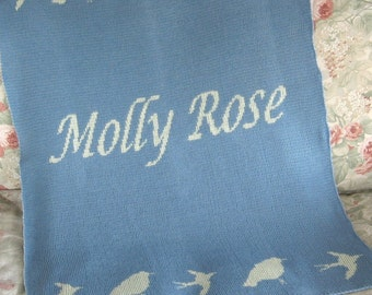 Personalized Bird Blanket Knit for Baby