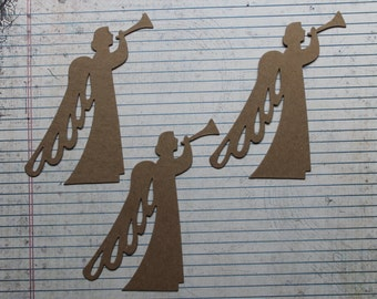 3 Large angel with trumpet bare chipboard die cuts 4 1/4 wide x 4 7/8 inches tall