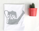 75% OFF SALE - Gift for Gardener - Gardener Gift - Tea Towel - White and Silver Flour Sack Towel - Spring Decoration - Grow Dish Towel