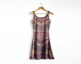 A line Dress, Sleeveless Dress, Tapestry Pattern Dress, Boho Dress, Tank Dress, Party Dress, Fit and Flare Dress, Patterned Bohemian Dress