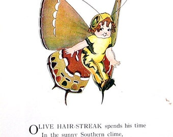 Olive Hair Streak, Brown Elfin Butterfly - 1914 Antique Book Page - Butterfly Babies, Butterfly Children - 9 x 6